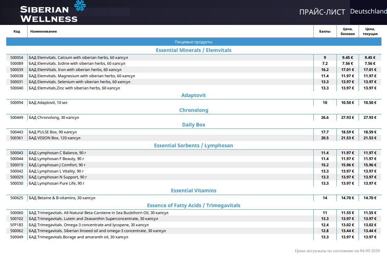 прайс-лист сибирское здоровье германия
