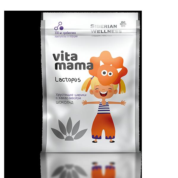 Lactopus, хрустящие шарики с какао-маслом (шоколад) Vitamama